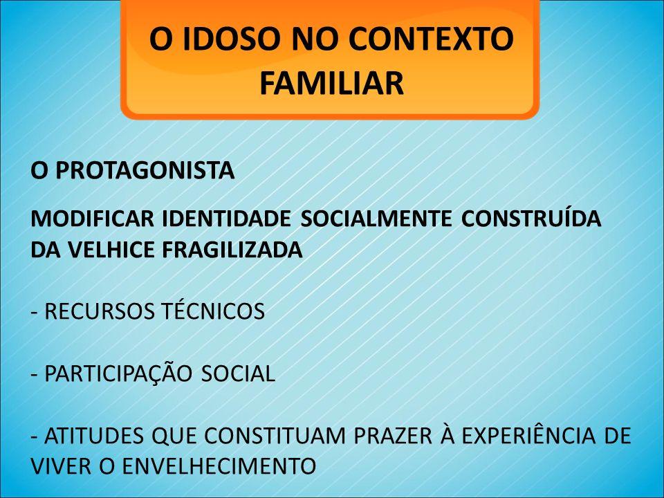 O IDOSO NO CONTEXTO FAMILIAR O PROTAGONISTA MODIFICAR IDENTIDADE SOCIALMENTE CONSTRUÍDA DA VELHICE FRAGILIZADA - RECURSOS TÉCNICOS - PARTICIPAÇÃO SOCI