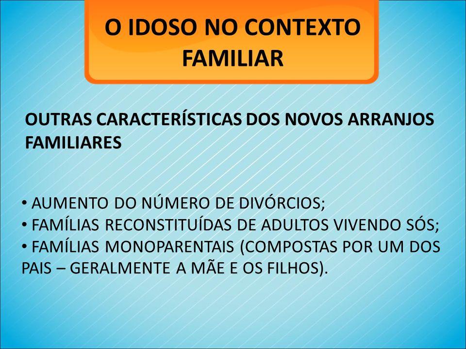 O IDOSO NO CONTEXTO FAMILIAR OUTRAS CARACTERÍSTICAS DOS NOVOS ARRANJOS FAMILIARES AUMENTO DO NÚMERO DE DIVÓRCIOS; FAMÍLIAS RECONSTITUÍDAS DE ADULTOS V