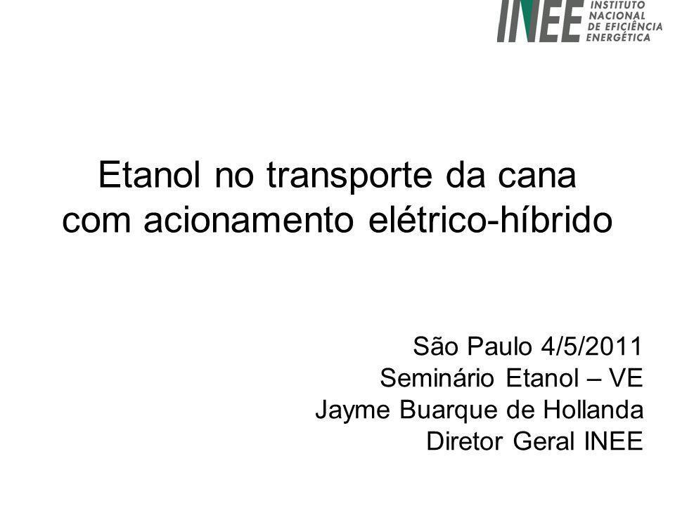 Etanol no transporte da cana com acionamento elétrico-híbrido São Paulo 4/5/2011 Seminário Etanol – VE Jayme Buarque de Hollanda Diretor Geral INEE
