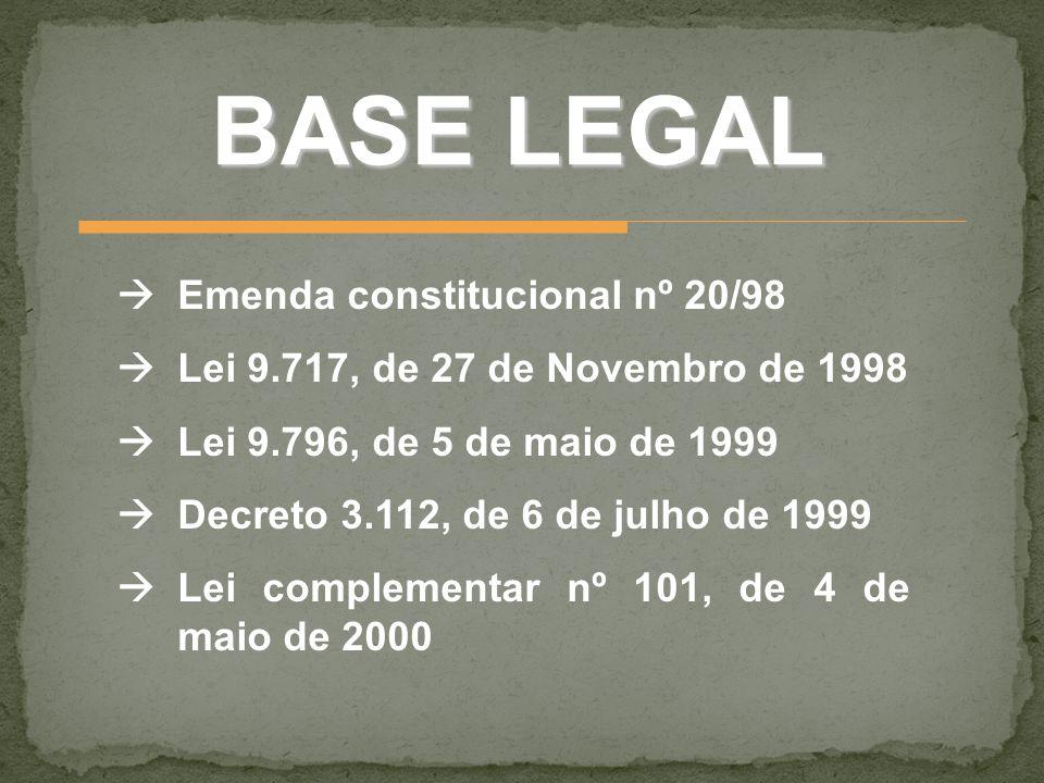 BASE LEGAL Emenda constitucional nº 20/98 Lei 9.717, de 27 de Novembro de 1998 Lei 9.796, de 5 de maio de 1999 Decreto 3.112, de 6 de julho de 1999 Le