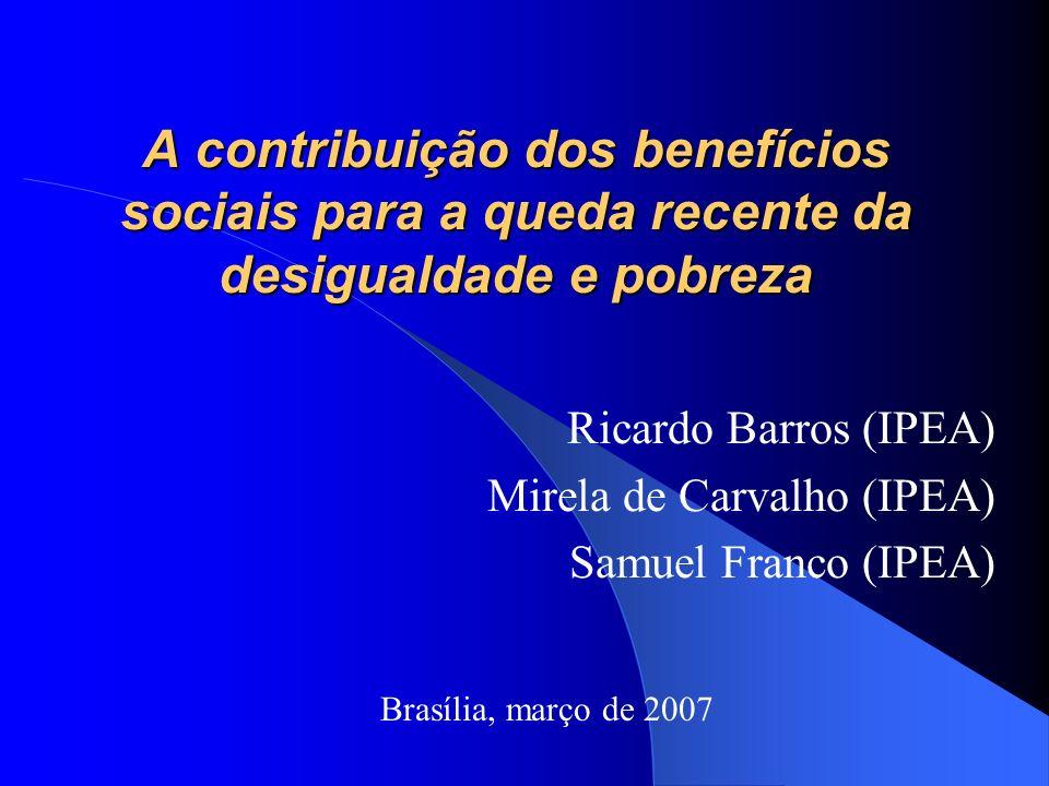 A contribuição dos benefícios sociais para a queda recente da desigualdade e pobreza Ricardo Barros (IPEA) Mirela de Carvalho (IPEA) Samuel Franco (IPEA) Brasília, março de 2007