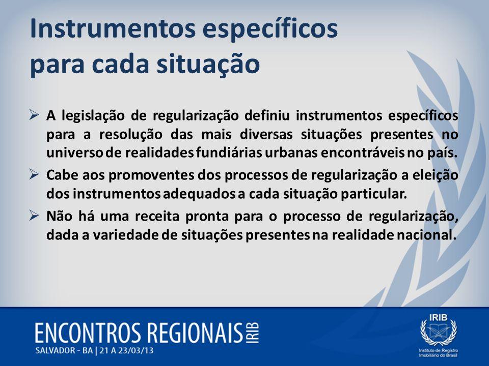 Instrumentos específicos para cada situação A legislação de regularização definiu instrumentos específicos para a resolução das mais diversas situaçõe