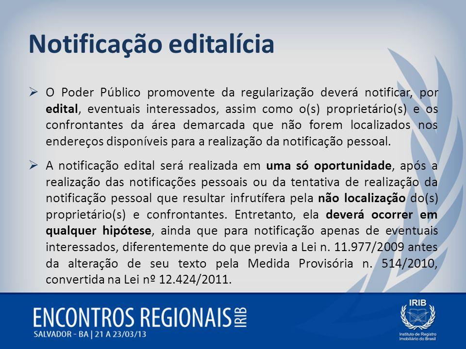 Notificação editalícia O Poder Público promovente da regularização deverá notificar, por edital, eventuais interessados, assim como o(s) proprietário(
