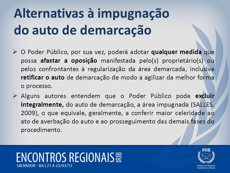 Alternativas à impugnação do auto de demarcação O Poder Público, por sua vez, poderá adotar qualquer medida que possa afastar a oposição manifestada p