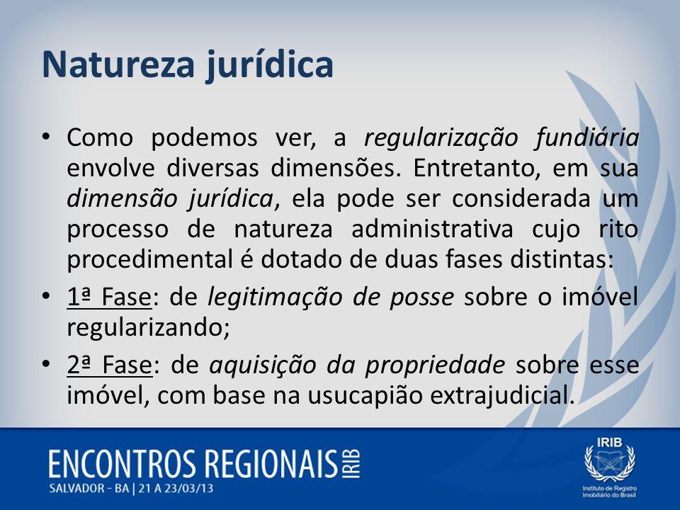 Natureza jurídica Como podemos ver, a regularização fundiária envolve diversas dimensões. Entretanto, em sua dimensão jurídica, ela pode ser considera