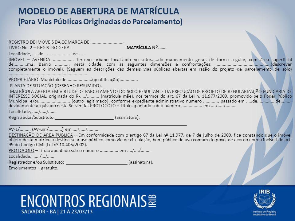 MODELO DE ABERTURA DE MATRÍCULA (Para Vias Públicas Originadas do Parcelamento) REGISTRO DE IMÓVEIS DA COMARCA DE........................... LIVRO No.
