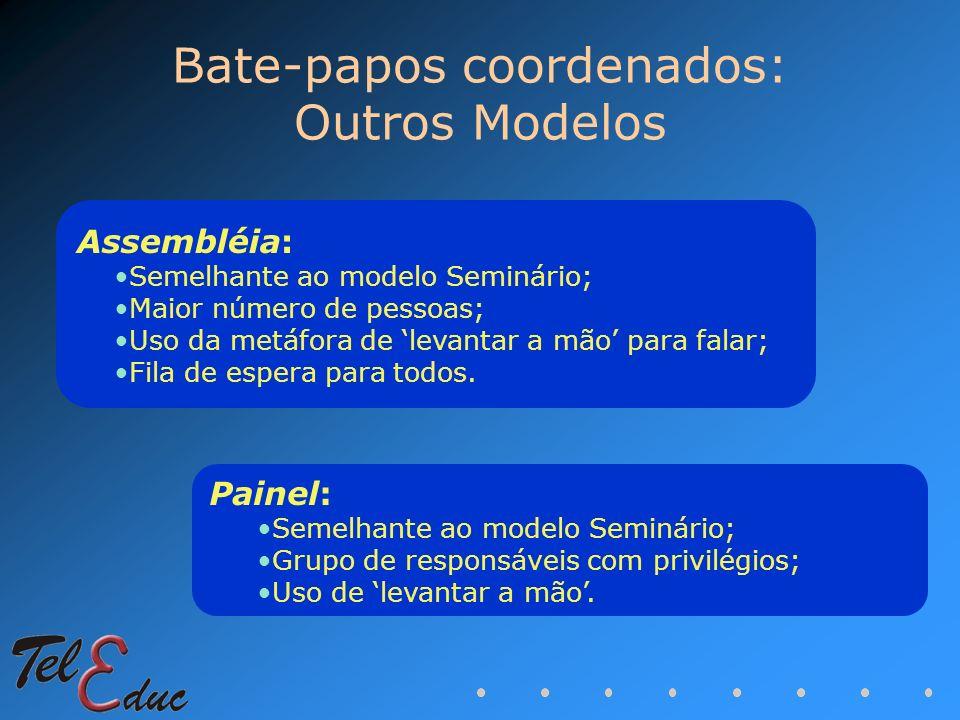 Bate-papos coordenados: Outros Modelos Assembléia: Semelhante ao modelo Seminário; Maior número de pessoas; Uso da metáfora de levantar a mão para fal