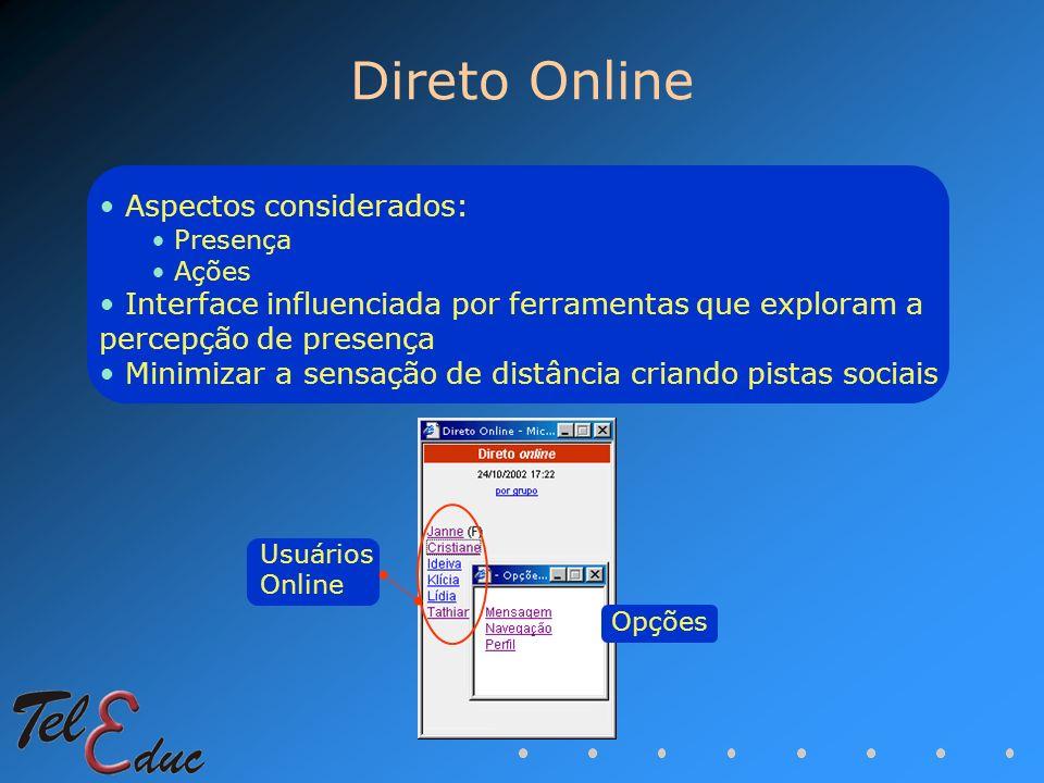 Direto Online Aspectos considerados: Presença Ações Interface influenciada por ferramentas que exploram a percepção de presença Minimizar a sensação d