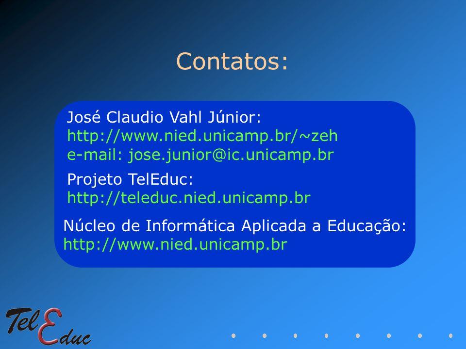 Contatos: José Claudio Vahl Júnior: http://www.nied.unicamp.br/~zeh e-mail: jose.junior@ic.unicamp.br Projeto TelEduc: http://teleduc.nied.unicamp.br
