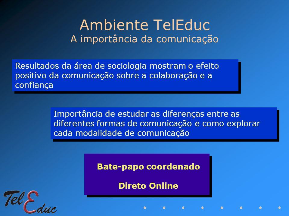 Ambiente TelEduc A importância da comunicação Resultados da área de sociologia mostram o efeito positivo da comunicação sobre a colaboração e a confia