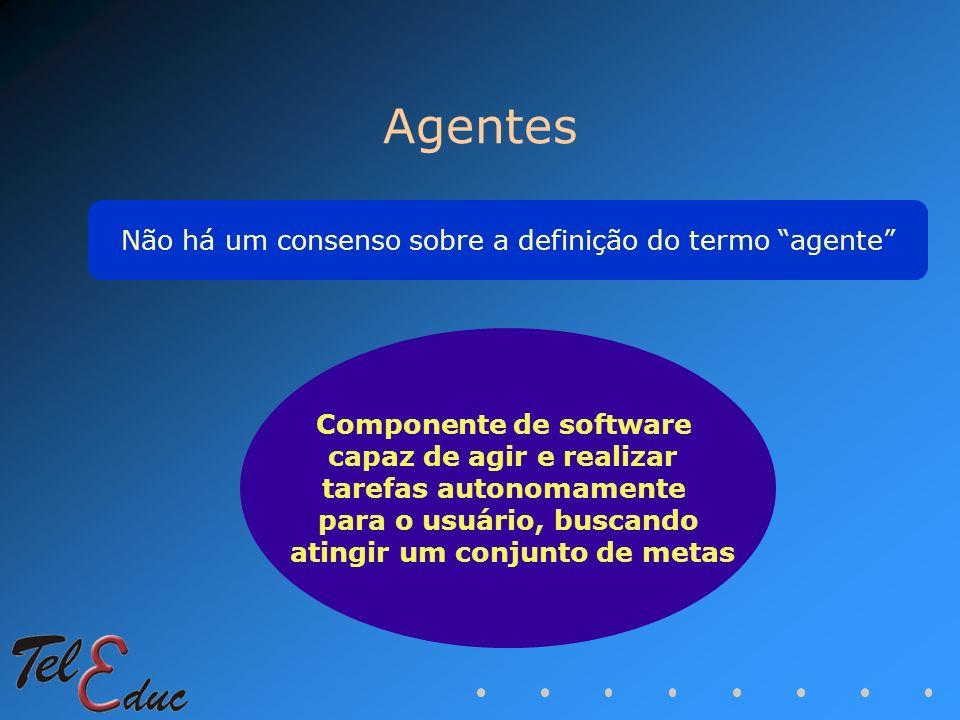 Agentes Componente de software capaz de agir e realizar tarefas autonomamente para o usuário, buscando atingir um conjunto de metas Não há um consenso