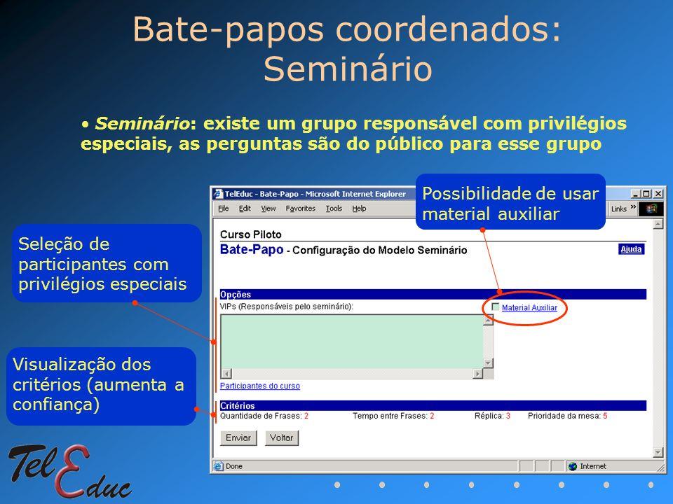 Bate-papos coordenados: Seminário Visualização dos critérios (aumenta a confiança) Seleção de participantes com privilégios especiais Possibilidade de