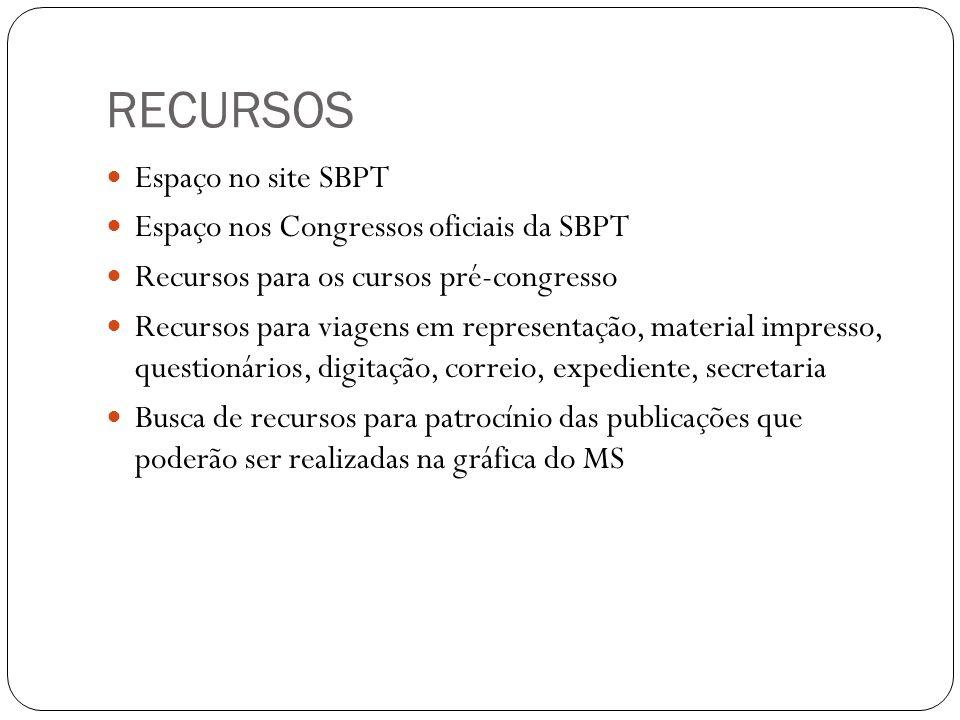 Espaço no site SBPT Espaço nos Congressos oficiais da SBPT Recursos para os cursos pré-congresso Recursos para viagens em representação, material impresso, questionários, digitação, correio, expediente, secretaria Busca de recursos para patrocínio das publicações que poderão ser realizadas na gráfica do MS