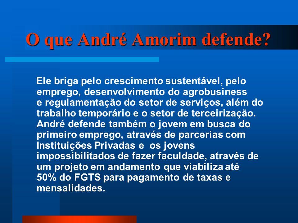 O que André Amorim defende? Ele briga pelo crescimento sustentável, pelo emprego, desenvolvimento do agrobusiness e regulamentação do setor de serviço
