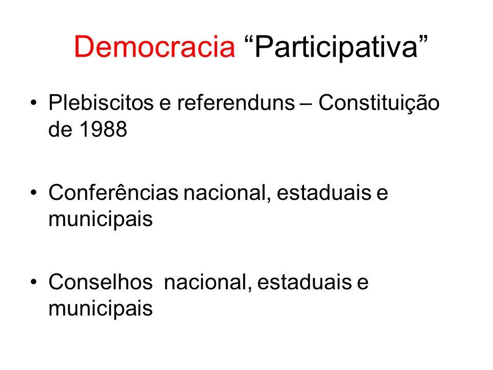 Democracia Participativa Plebiscitos e referenduns – Constituição de 1988 Conferências nacional, estaduais e municipais Conselhos nacional, estaduais