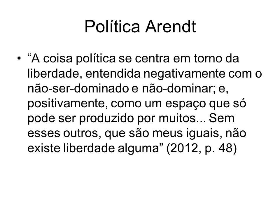 Política Arendt A coisa política se centra em torno da liberdade, entendida negativamente com o não-ser-dominado e não-dominar; e, positivamente, como