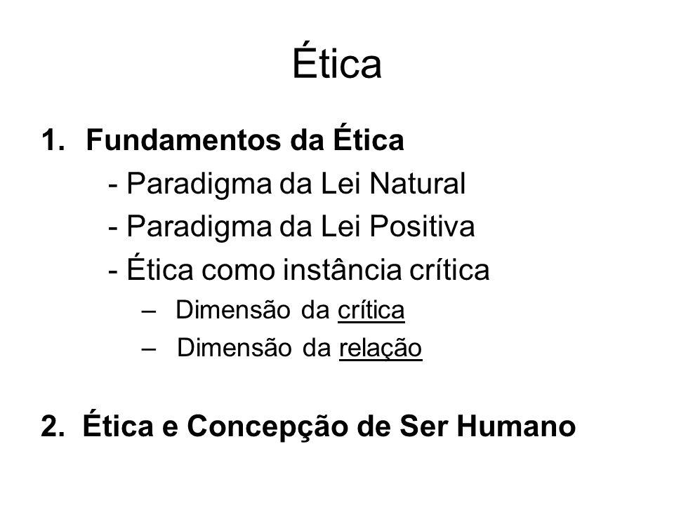 Ética 1.Fundamentos da Ética - Paradigma da Lei Natural - Paradigma da Lei Positiva - Ética como instância crítica –Dimensão da crítica – Dimensão da