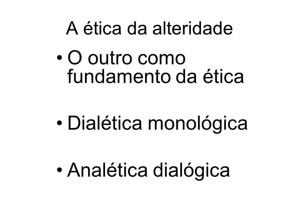 A ética da alteridade O outro como fundamento da ética Dialética monológica Analética dialógica