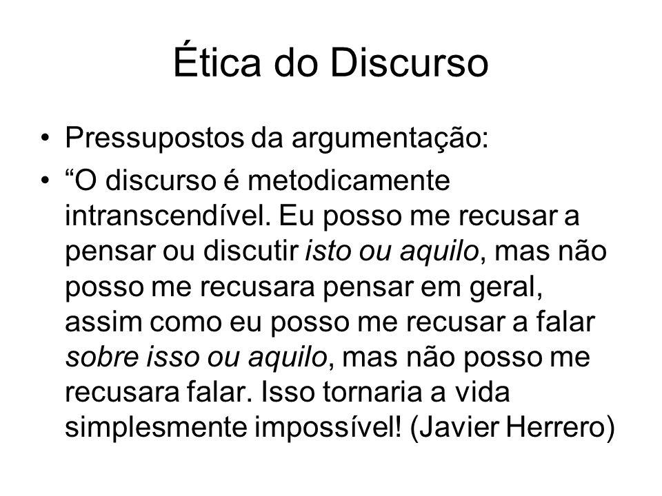 Ética do Discurso Pressupostos da argumentação: O discurso é metodicamente intranscendível. Eu posso me recusar a pensar ou discutir isto ou aquilo, m