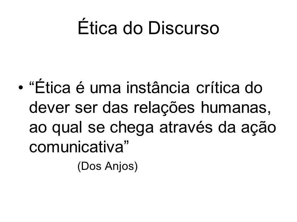 Ética do Discurso Ética é uma instância crítica do dever ser das relações humanas, ao qual se chega através da ação comunicativa (Dos Anjos)