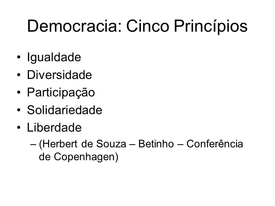 Democracia: Cinco Princípios Igualdade Diversidade Participação Solidariedade Liberdade –(Herbert de Souza – Betinho – Conferência de Copenhagen)