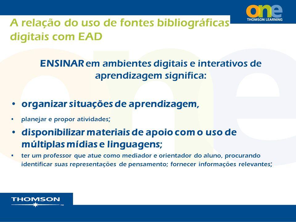 A relação do uso de fontes bibliográficas digitais com EAD ENSINAR em ambientes digitais e interativos de aprendizagem significa: organizar situações