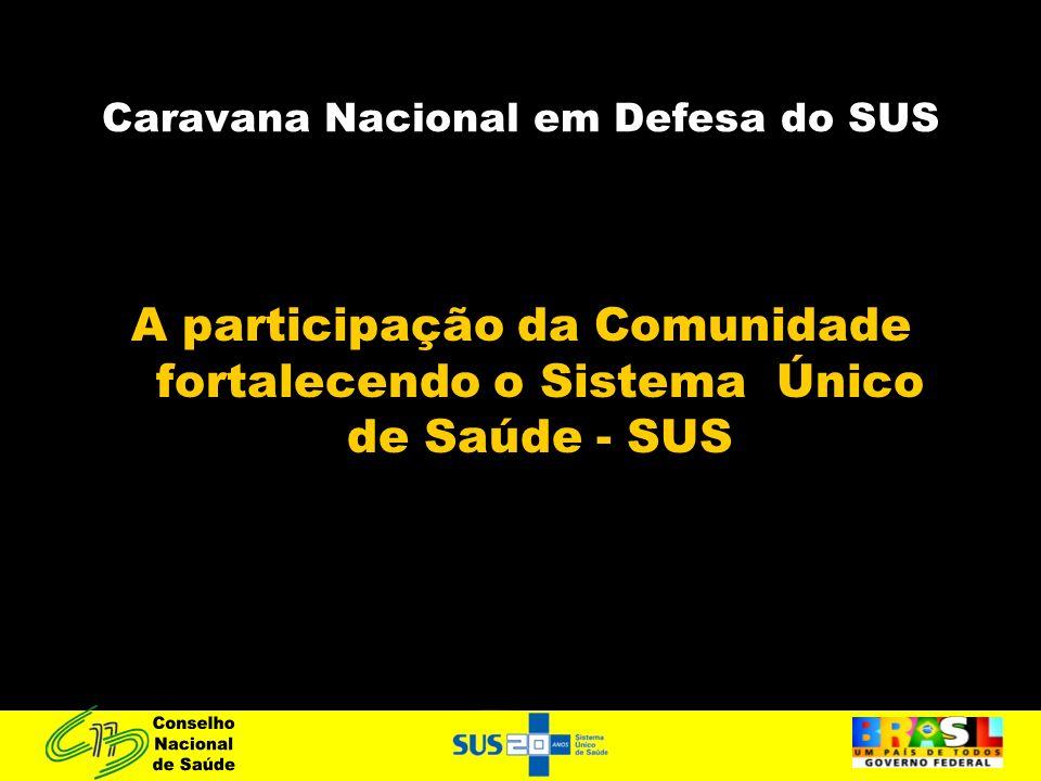 Caravana Nacional em Defesa do SUS A participação da Comunidade fortalecendo o Sistema Único de Saúde - SUS