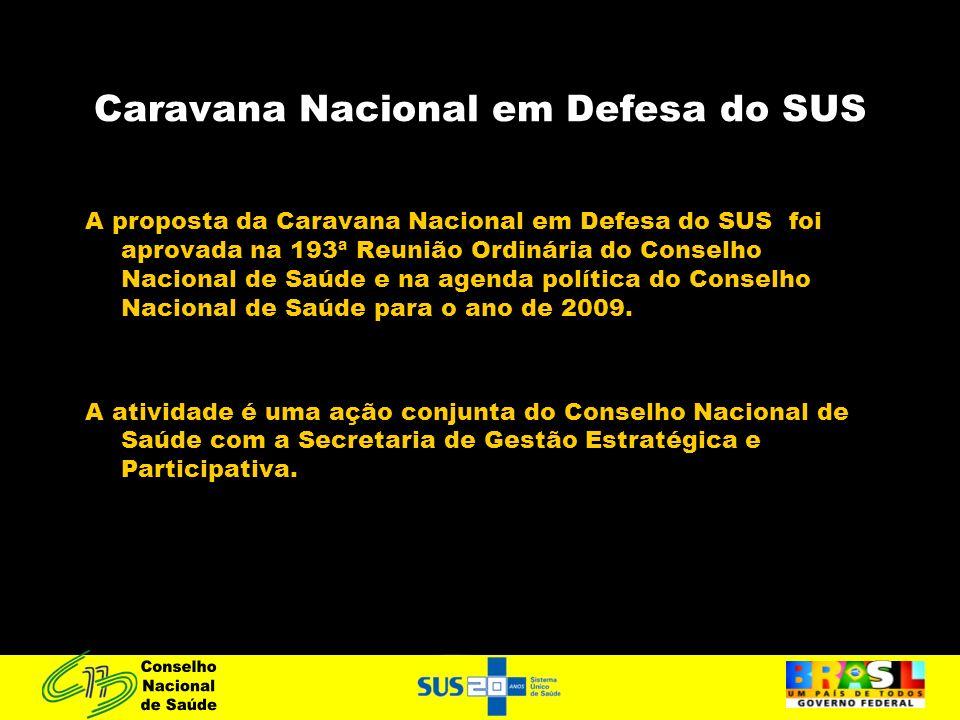 Caravana Nacional em Defesa do SUS A proposta da Caravana Nacional em Defesa do SUS foi aprovada na 193ª Reunião Ordinária do Conselho Nacional de Saú