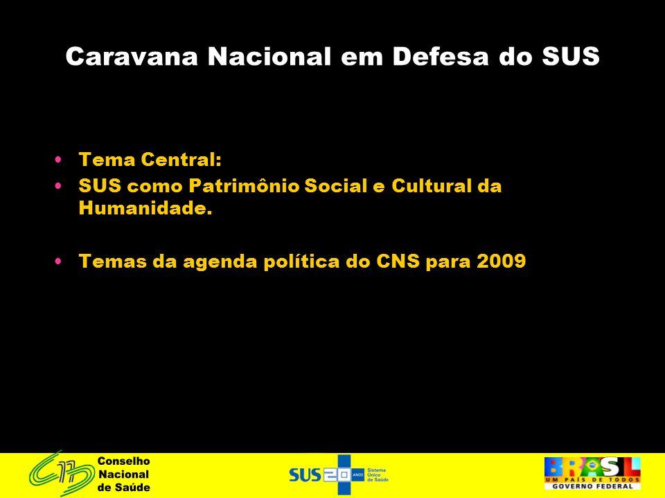 Caravana Nacional em Defesa do SUS Tema Central: SUS como Patrimônio Social e Cultural da Humanidade. Temas da agenda política do CNS para 2009