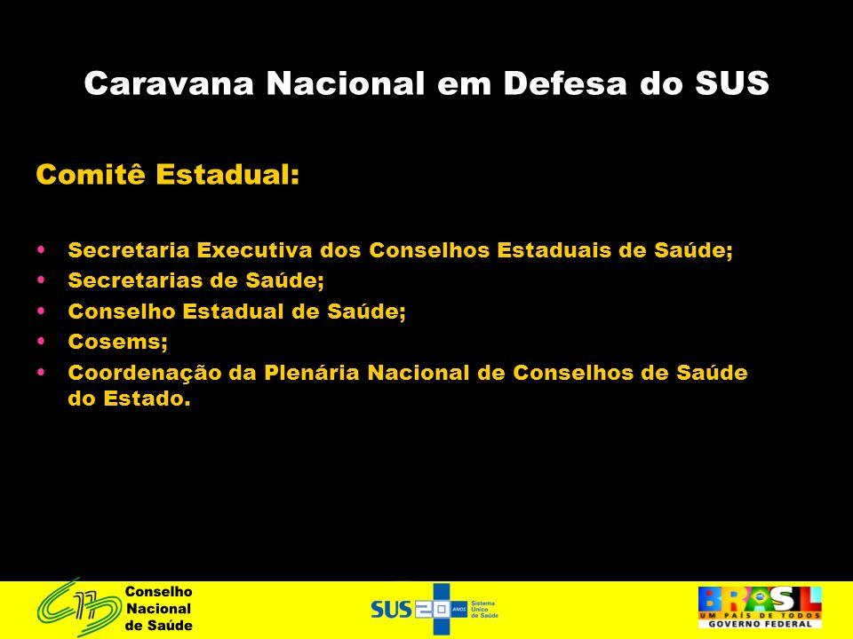 Caravana Nacional em Defesa do SUS Comitê Estadual: Secretaria Executiva dos Conselhos Estaduais de Saúde; Secretarias de Saúde; Conselho Estadual de