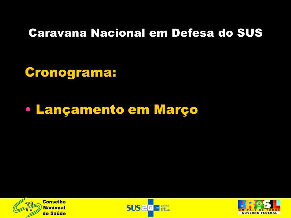 Caravana Nacional em Defesa do SUS Cronograma: Lançamento em Março