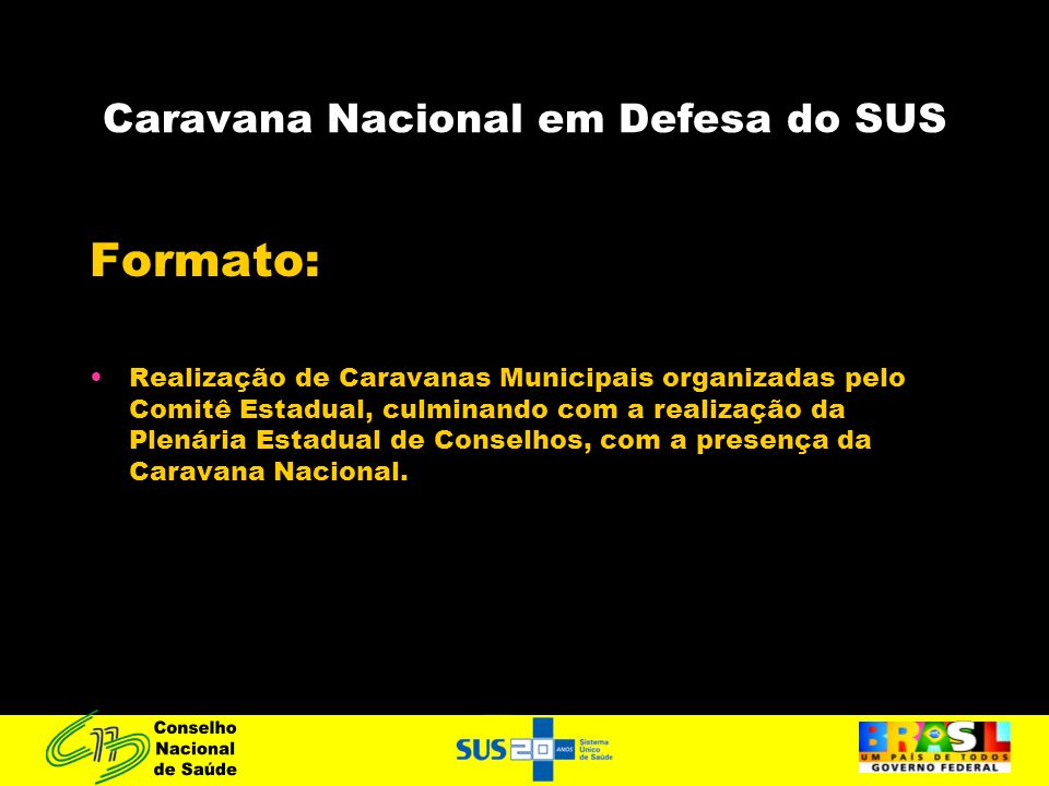 Caravana Nacional em Defesa do SUS Formato: Realização de Caravanas Municipais organizadas pelo Comitê Estadual, culminando com a realização da Plenár