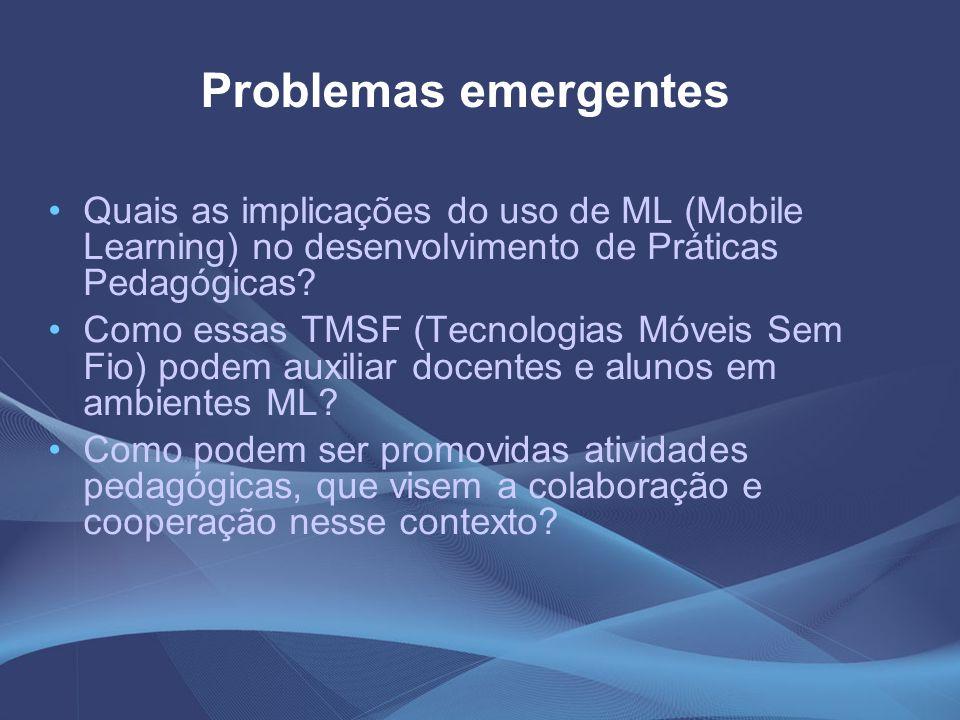 Problemas emergentes Quais as implicações do uso de ML (Mobile Learning) no desenvolvimento de Práticas Pedagógicas? Como essas TMSF (Tecnologias Móve