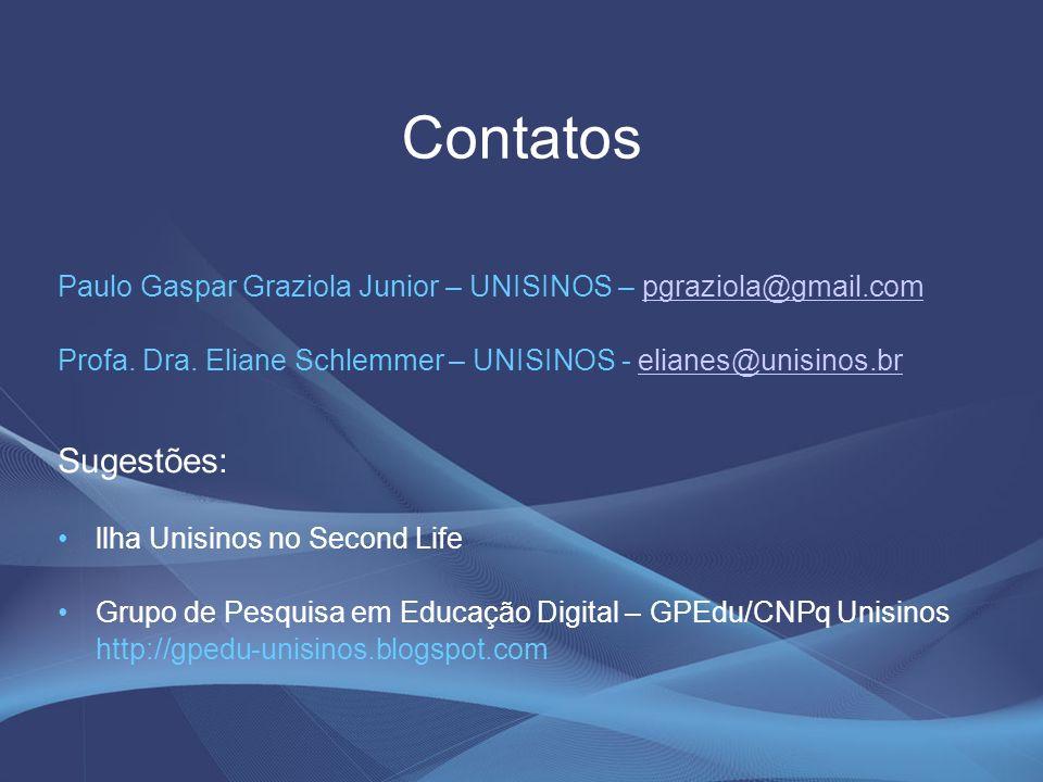 Contatos Paulo Gaspar Graziola Junior – UNISINOS – pgraziola@gmail.compgraziola@gmail.com Profa. Dra. Eliane Schlemmer – UNISINOS - elianes@unisinos.b