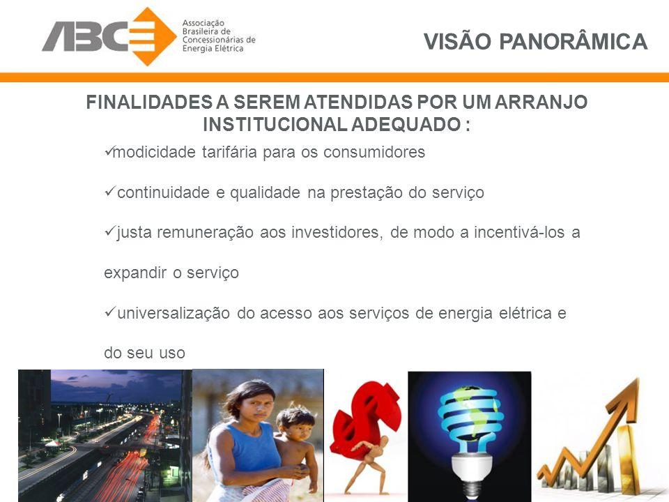 FINALIDADES A SEREM ATENDIDAS POR UM ARRANJO INSTITUCIONAL ADEQUADO : modicidade tarifária para os consumidores continuidade e qualidade na prestação do serviço justa remuneração aos investidores, de modo a incentivá-los a expandir o serviço universalização do acesso aos serviços de energia elétrica e do seu uso VISÃO PANORÂMICA