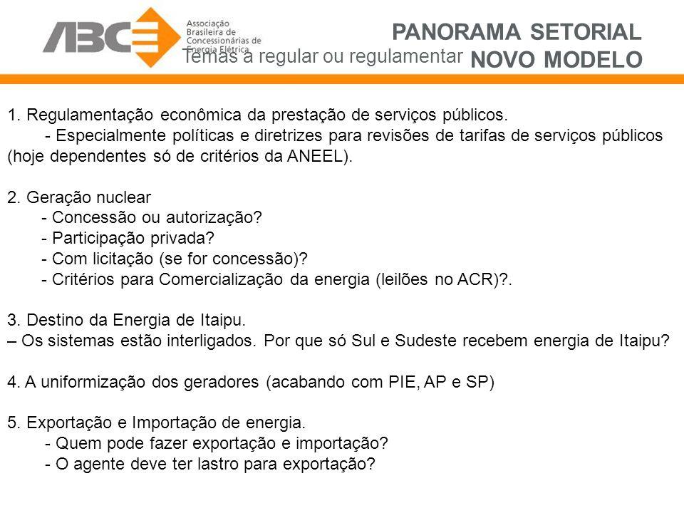 PANORAMA SETORIAL NOVO MODELO 1. Regulamentação econômica da prestação de serviços públicos.
