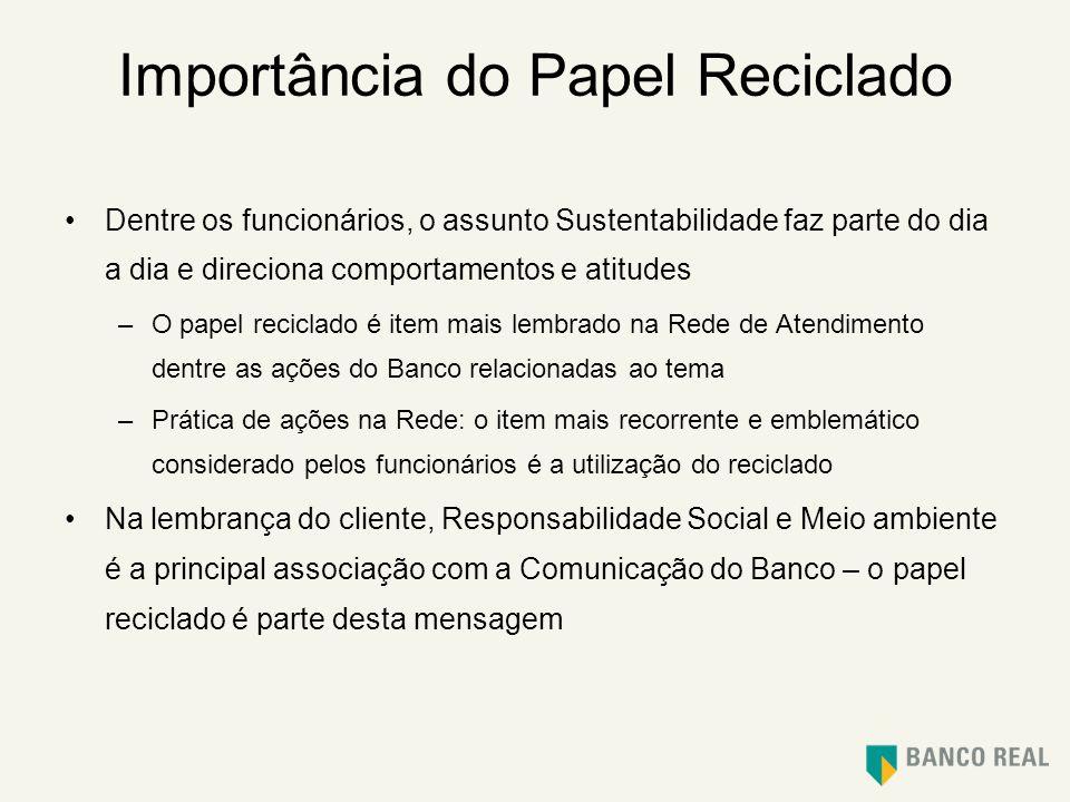 Importância do Papel Reciclado Dentre os funcionários, o assunto Sustentabilidade faz parte do dia a dia e direciona comportamentos e atitudes –O pape