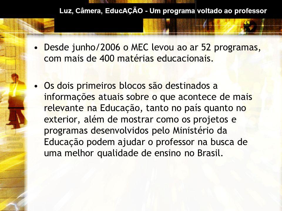 Luz, Câmera, EducAÇÃO - Um programa voltado ao professor Desde junho/2006 o MEC levou ao ar 52 programas, com mais de 400 matérias educacionais.