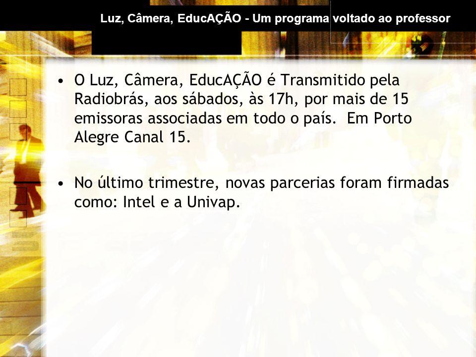 Luz, Câmera, EducAÇÃO - Um programa voltado ao professor O Luz, Câmera, EducAÇÃO é Transmitido pela Radiobrás, aos sábados, às 17h, por mais de 15 emissoras associadas em todo o país.