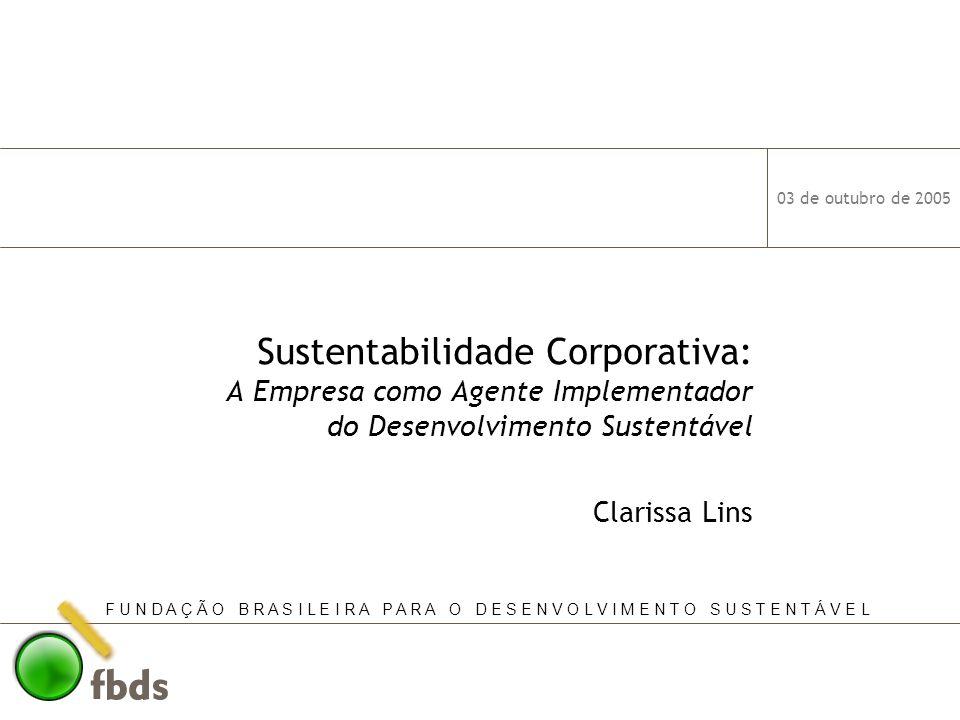 03 de outubro de 2005 12 Sustentabilidade Corporativa Principais Iniciativas Financeiras (continuação) DJSI World: mais de 300 empresas ordenadas em 58 grupos industriais, de 34 países, com valor de mercado de quase US$ 8.0 trilhões (do Brasil: Itaú Holding, Banco Itaú, Cemig e Aracruz) DJSI World – USD Performance and Risk (I) December 1993 – July 2005, USD, Total Return Index DJSI World / MSCI World: Correlation: 0.9765 Tracking Error: 3.46% DJSI Volatility:15.37% DJGI Volatility:14.01% 183% 135%