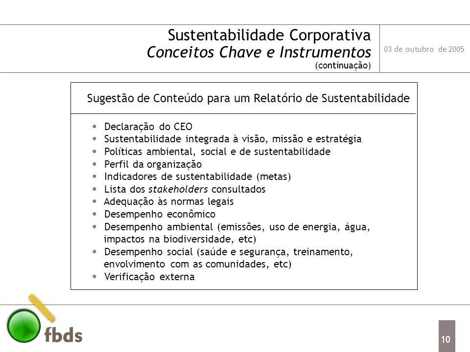 03 de outubro de 2005 10 Sustentabilidade Corporativa Conceitos Chave e Instrumentos (continuação) Declaração do CEO Sustentabilidade integrada à visã