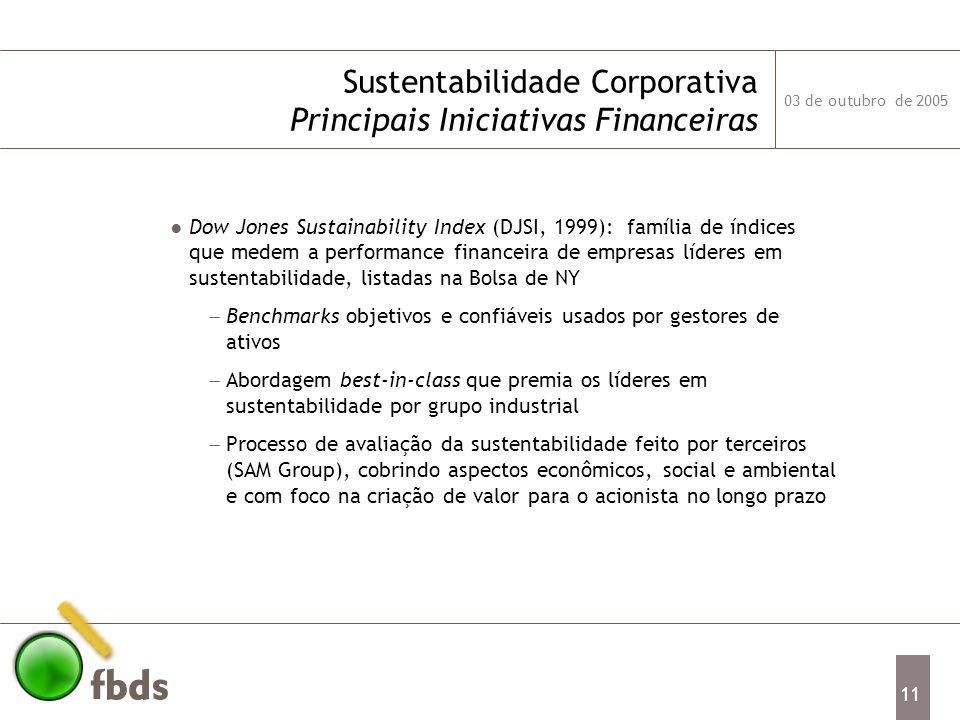03 de outubro de 2005 11 Sustentabilidade Corporativa Principais Iniciativas Financeiras Dow Jones Sustainability Index (DJSI, 1999): família de índic