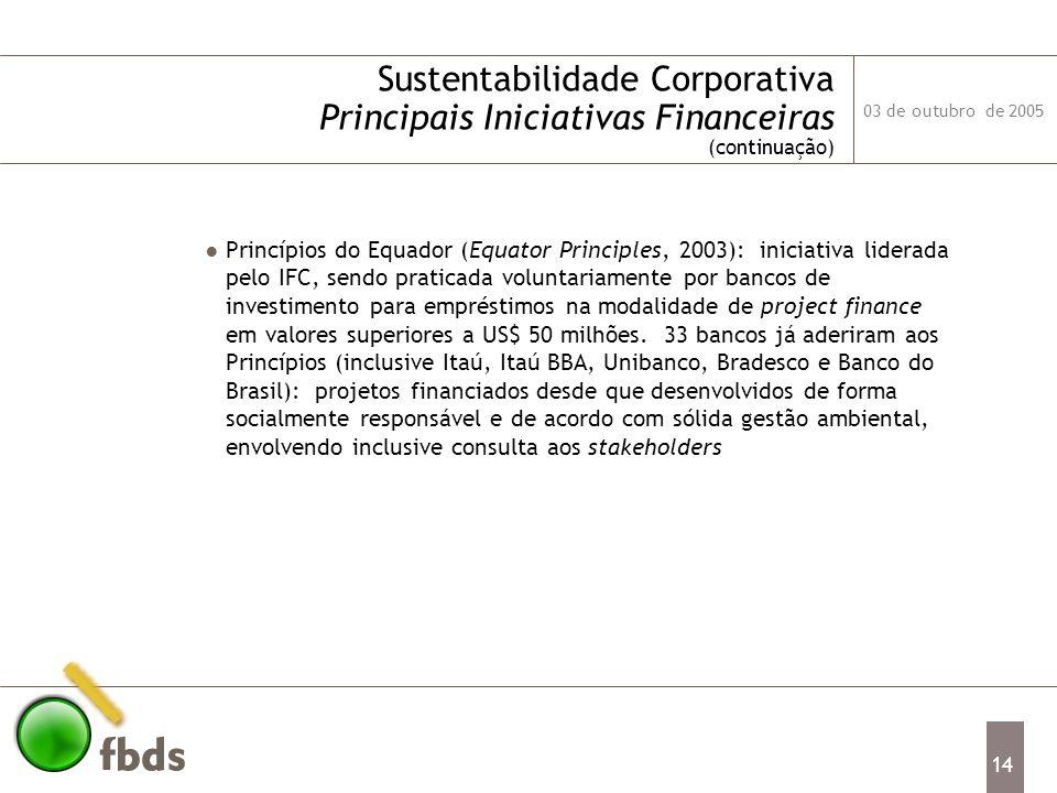 03 de outubro de 2005 14 Sustentabilidade Corporativa Principais Iniciativas Financeiras (continuação) Princípios do Equador (Equator Principles, 2003