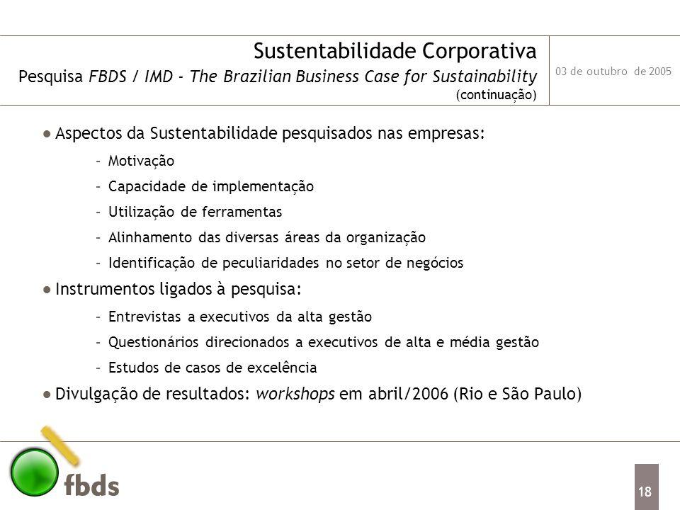 03 de outubro de 2005 18 Sustentabilidade Corporativa Pesquisa FBDS / IMD - The Brazilian Business Case for Sustainability (continuação) Aspectos da S