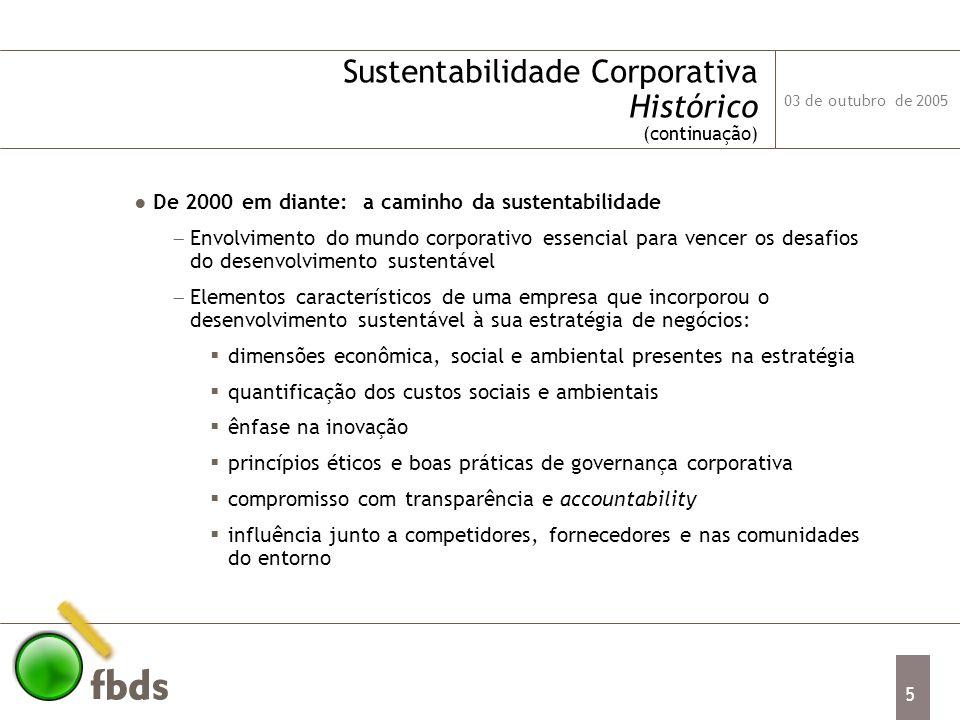 03 de outubro de 2005 6 Sustentabilidade Corporativa Conceitos Chave e Instrumentos Eco-eficiência: busca produzir mais com menor utilização de energia e material, seja graças à melhoria de eficiência nos processos produtivos existentes, seja por abordagens inovadoras (reciclagem, redução de desperdício).