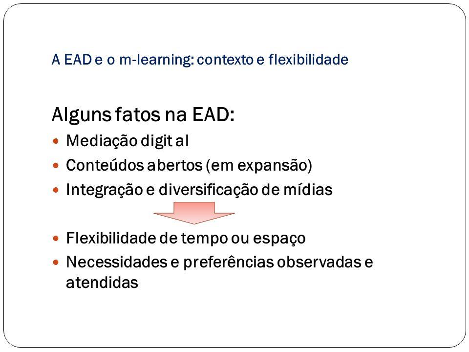 A EAD e o m-learning: contexto e flexibilidade Algumas tendências: Dispositivos móveis Maior flexibilidade de tempo ou espaço Mediação digit al – personalizada Ampliação de uso de redes e colaboração