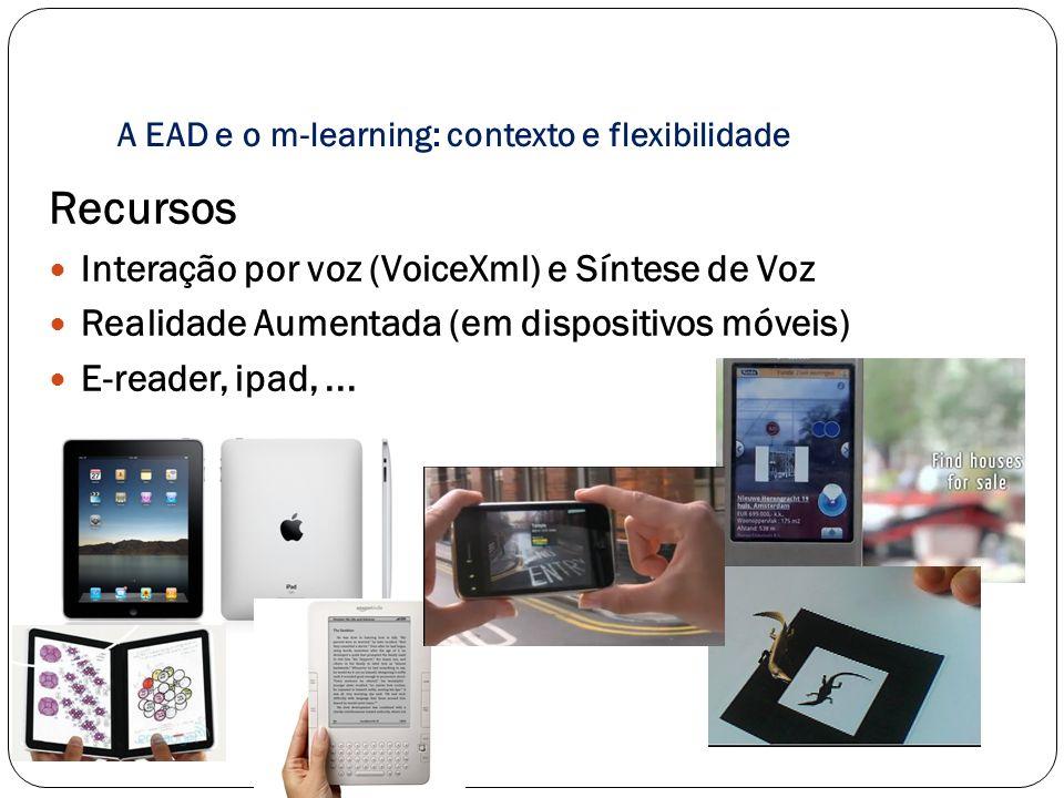 A EAD e o m-learning: contexto e flexibilidade Recursos Interação por voz (VoiceXml) e Síntese de Voz Realidade Aumentada (em dispositivos móveis) E-r