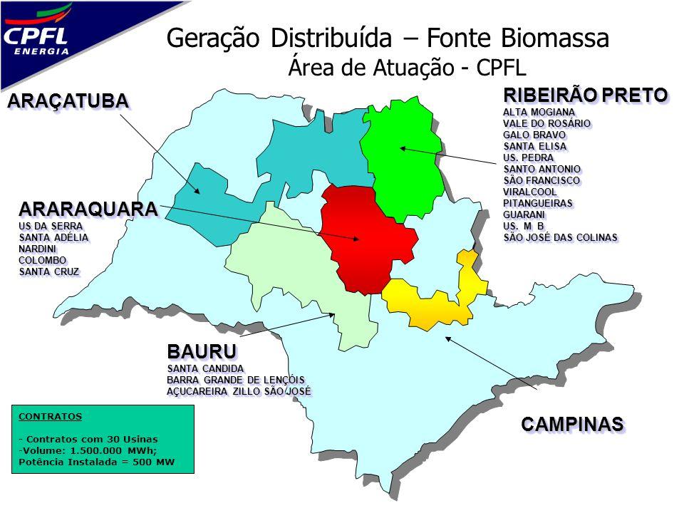 Geração Distribuída – Fonte Biomassa Área de Atuação - CPFL CAMPINASCAMPINAS BAURU SANTA CANDIDA BARRA GRANDE DE LENÇÓIS AÇUCAREIRA ZILLO SÃO JOSÉ BAU