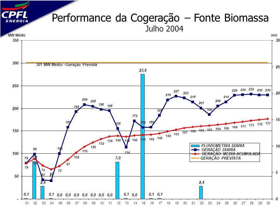 Performance da Cogeração – Fonte Biomassa Julho 2004