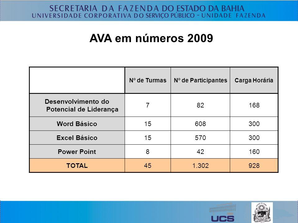 AVA em números 2009 Nº de TurmasNº de ParticipantesCarga Horária Desenvolvimento do Potencial de Liderança 782168 Word Básico15608300 Excel Básico15570300 Power Point842160 TOTAL451.302928